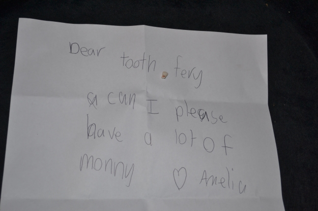 Our daughter's letter to the tooth fairy.