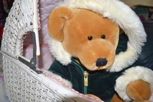 Harrods Bear Christmas 2001 in our daughter's pram