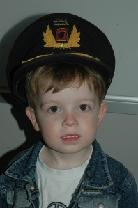Captain Newton...the Captain lends Mister his real Qantas Captain's Hat.