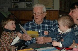 Looking at cards the next day with Papa Bert