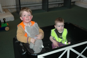 Both children at the train museum.