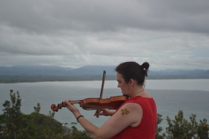 Playing my violin at Byron Bay Lighthouse