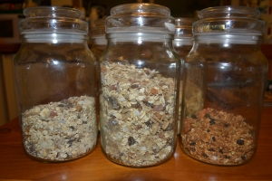 A row of Moccona jars removed from the pantry for photographic purposes!