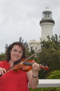 Playing my violin at the Cape Byron Lighthouse, Byron Bay