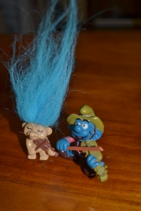 An unlikely duo...the Troll and Smurf Ensemble.