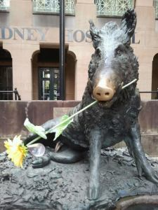 Bronze Pig and sunflower outside Sydney Hospital just down from the Mitchell Library
