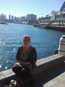 Me at the Sydney Writers' Festival, Walsh Bay on Sydney Harbour.