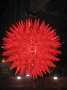 This stunning light sculpture was made by illuminating plastic witches' hats (ie as used in for road works).