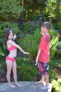 The kids with the monster-sized rosemary bush and cobwebs.