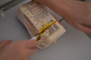 The difficulties of cutting the butter in a straight line.