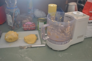The pastry is ready to go in to the fridge. Hadn't noticed my paint brushes on the bench...oops!