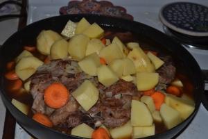 Irish Stew=adding the veggies to the meat.