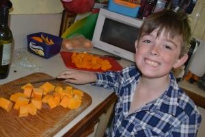 Mister diced the pumpkin himself under supervision.