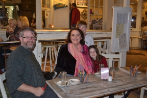 Our family at Cafe Ibiza, Avalon. You can just see the top of the dog's head near Geoff.