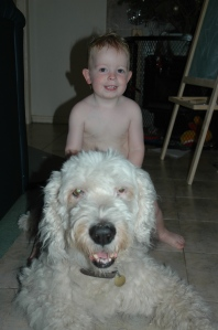 Our son and Rus our Old English Sheepdog back in 2006.