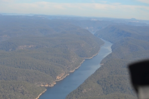 Flying over Warragamba Dam. Can't see Nessy but everybody knows she's shy!