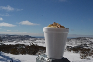 My budget hot chocolate with a mountain of cream to rival Mt Kosciusko.