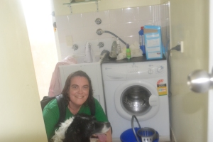 Bilbo and I in the laundry sopping wet but we made it back.