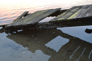 The decaying jetty is returning to the sea.