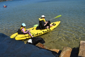 Miss and I in the kayak with Lady.
