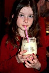 Miss enjoys a non-alcoholic pina colada
