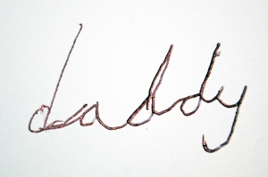 Handwriting to warm up even the coldest of hearts. Happy Birthday Daddy love from Mister!