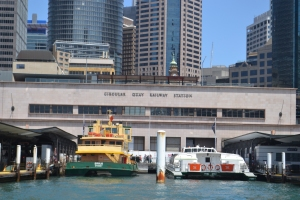 The view back towards Circular Quay as the ferry pulled out. You can see the train station in the foreground.