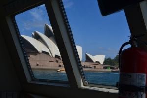 Sydney Opera House viewed through the front of the ferry returning from Neutral Bay.