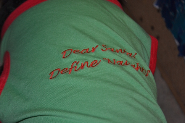 "Lady's t-shirt reads: ""Santa, define naughty!"