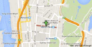 Map Showing the location of Martin Place, Sydney.