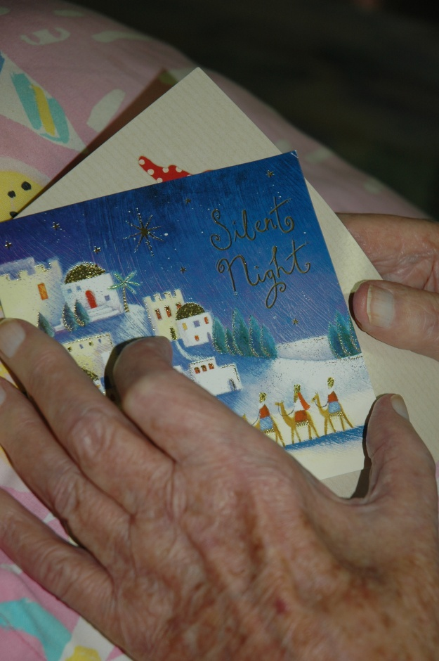 """My grandfather reading his Christmas mail 2007. When he was a Pastor in Wollongong back in the 1950s in a congregation with mostly """"New Australians"""", everbody would sing Silent Night in their own language together."""
