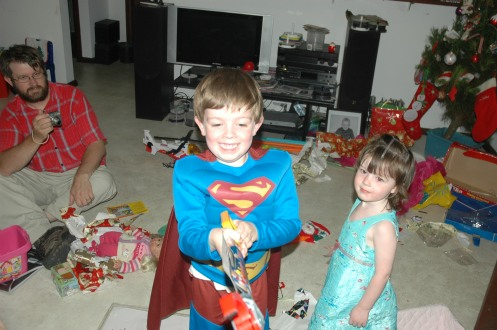 Who hasn't bought their little man a superman suit? Christmas 2008. Mister aged 4 and Miss aged 2.