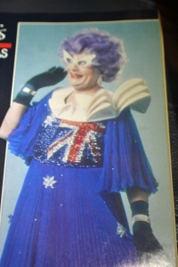 Only Dame Edna could manage to incorporate the Auistralian flag and a 3D version of the Sydney Opera House into a frock.