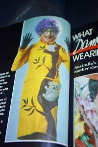 Dame Edna Everage wearing a signature piece of Australiana