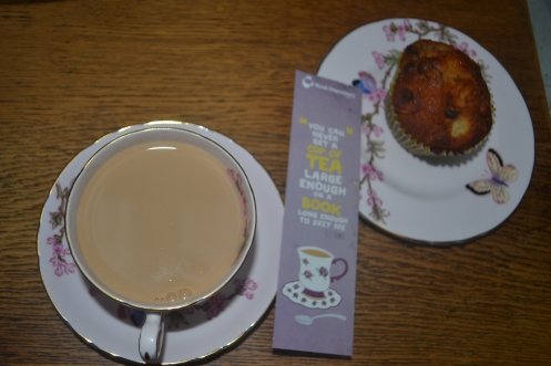 A relaxing cup of tea and home-made banana muffin after dropping the kids at school early.