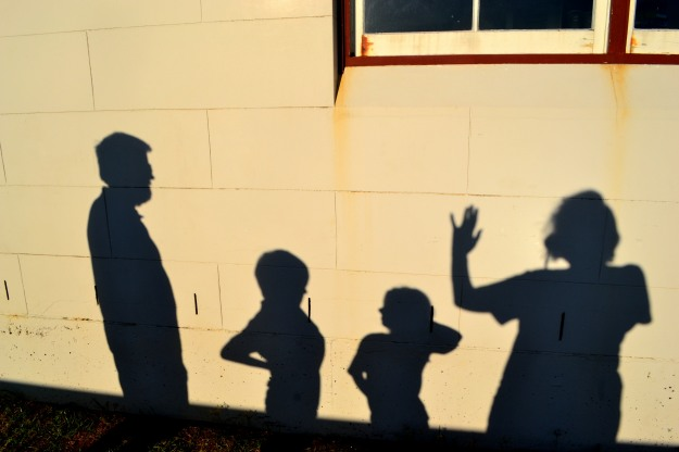 Family shadow Byron Lighthouse Easter 2014