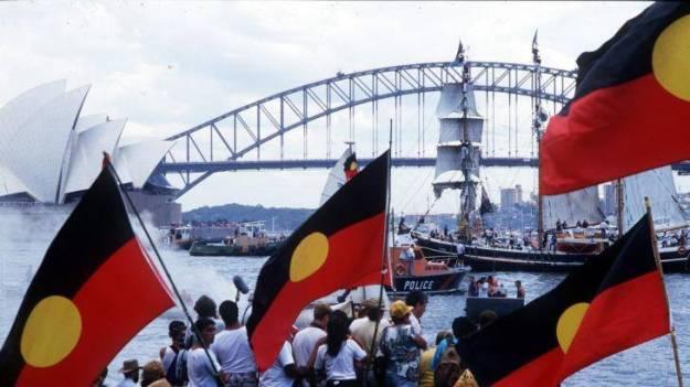 Aboriginal protests on Sydney Harbour, Australia Day, 1988
