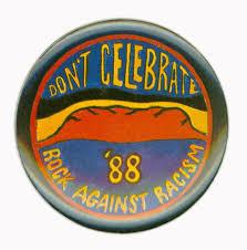 Badge Protesting against celebrating Australia's Bicentenary.