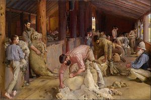 "Tom Roberts: ""Shearing the Rams"" 1890."