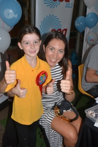 Miss celebrates her birthday with SeaFM Radio Host Kristi before school.
