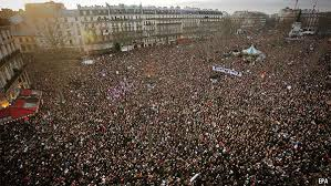 Huge Crowds March through Paris January 11, 2015