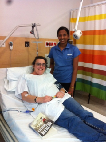 Getting my infusion in the brand new hospital.