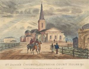 St James Church, Sydney. 1836, lithograph. Robert Russell, printed by John Gardiner Austin.