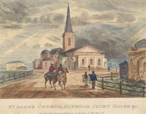 St James Church, Sydney. 1836, lithograph. Robert Russell, printed by John Gardiner Austin.