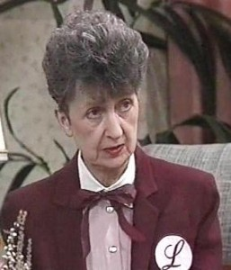 A disapproving Mrs Mangel from the hit drama series, Neighbours.
