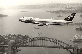 My kind of journey: time traveling back to the 1970s with Qantas flying over the Sydney Harbour Bridge.