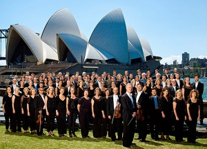 The Sydney Symphony Orchestra in front of the Sydney Opera House