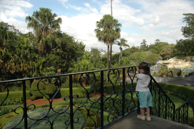 Miss admires the Horological Clock, Taronga Zoo, Sydney.