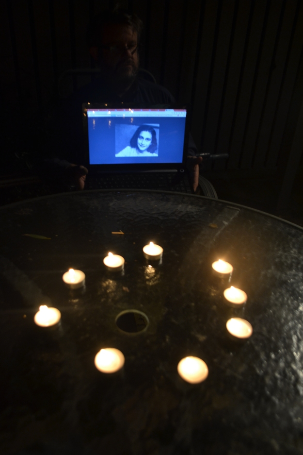 Our tribgute to Anne Frank at Sydney's Palm Beach. We lit a glowing circle of tea lights.