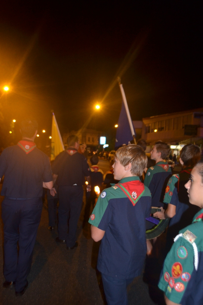 Scouts marching to the ANZAC Day Dawn Service.